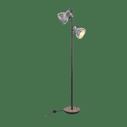 Επιδαπέδιο φωτιστικό δίφωτο Υ1,58cm μέταλλο & ξύλο EGLO BARNSTAPLE 49722