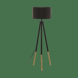 Επιδαπέδιο φωτιστικό clean coziness, μέταλλο, ξύλο & ύφασμα σε χρώμα καπουτσίνο με χρυσό EGLO BIDFORD 49148