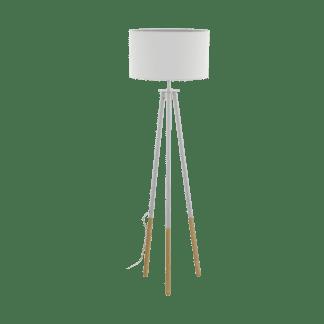 Επιδαπέδιο φωτιστικό clean coziness, μέταλλο, ξύλο & ύφασμα σε χρώμα λευκό EGLO BIDFORD 49156