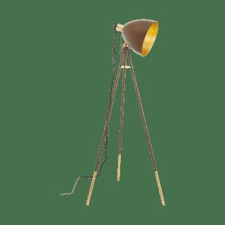Επιδαπέδιο industrial φωτιστικό, μέταλλο σε χρώμα σκουριάς & χρυσό EGLO CHESTER 1 49519