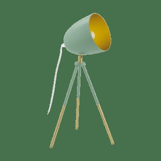 Επιτραπέζιο φωτιστικό clean coziness, μέταλλο σε χρώμα παστέλ σκούρο πράσινο με χρυσό EGLO CHESTER-P 49047