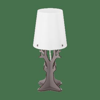 Επιτραπέζιο φωτιστικό vintage μονόφωτο Ø18cm, μέταλλο, ξύλο, πλαστικό, λευκό & γκρι EGLO HUNTSHAM 49366