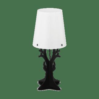 Επιτραπέζιο φωτιστικό vintage μονόφωτο Ø18cm, μέταλλο, ξύλο, πλαστικό, λευκό και μαύρο EGLO HUNTSHAM 49365