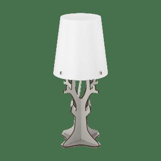 Επιτραπέζιο φωτιστικό vintage μονόφωτο Ø18cm, μέταλλο, ξύλο, πλαστικό, λευκό & πράσινο EGLO HUNTSHAM 49367