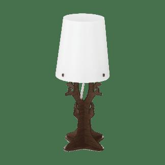 Επιτραπέζιο φωτιστικό vintage μονόφωτο Ø18cm, μέταλλο, ξύλο, πλαστικό, λευκό & σκούρο καφέ EGLO HUNTSHAM 49368