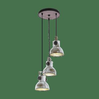 Κρεμαστό φωτιστικό τρίφωτο σε ροζέτα Ø27cm μέταλλο & ξύλο EGLO BARNSTAPLE 49647