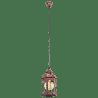 Κρεμαστό φωτιστικό φαναράκι cottage chic μονόφωτο, μέταλλο σε χρώμα χαλκού & διάφανο γυαλί EGLO REDFORD 1 49224