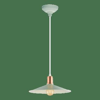 Κρεμαστό φωτιστικό clean coziness, μέταλλο σε χρώμα παστέλ ανοιχτό πράσινο με χάλκινο EGLO BRIDPORT-P 49033