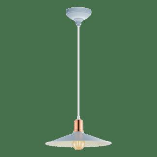 Κρεμαστό φωτιστικό clean coziness, μέταλλο σε χρώμα παστέλ γαλάζιο με χάλκινο EGLO BRIDPORT-P 49032