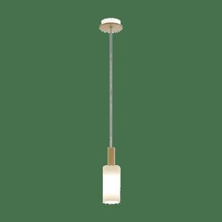Κρεμαστό φωτιστικό clean coziness, μονόφωτο, ξύλο, μέταλλο & λευκό γυαλί EGLO OAKHAM 49758
