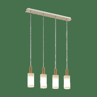 Κρεμαστό φωτιστικό clean coziness, τετράφωτο σε σειρά L79cm, ξύλο, μέταλλο & λευκό γυαλί EGLO OAKHAM 49559