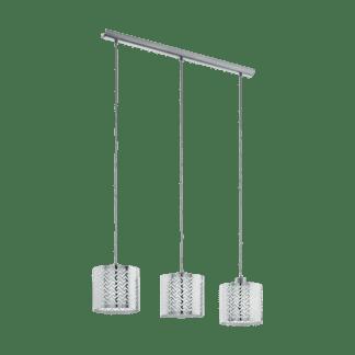 Κρεμαστό φωτιστικό clean coziness, τρίφωτο σε σειρά L79cm, μέταλλο σε χρώμα ασημί EGLO LEAMINGTON1 49166