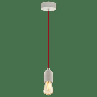 Κρεμαστό φωτιστικό single pendant μέταλλο, χρώμα γκρι με κόκκινο EGLO YORTH 32532