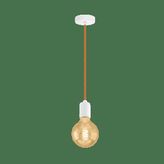Κρεμαστό φωτιστικό single pendant, μέταλλο, χρώμα λευκό με πορτοκαλί καλώδιο EGLO YORTH 32529