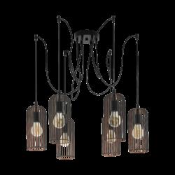 Κρεμαστό φωτιστικό vintage εξάφωτο, μέταλλο μαύρο & χάλκινο EGLO ROCCAMENA 49643