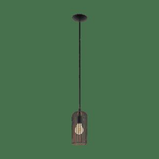 Κρεμαστό φωτιστικό vintage μονόφωτο Ø13cm, μέταλλο μαύρο & χάλκινο EGLO ROCCAMENA 49644
