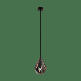Κρεμαστό φωτιστικό vintage μονόφωτο Ø20.5cm, μέταλλο μαύρο & χάλκινο EGLO CARLTON 1 49997