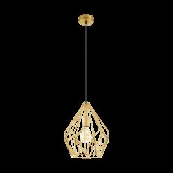 Κρεμαστό φωτιστικό vintage μονόφωτο Ø31cm, μέταλλο σε χρώμα χρυσού EGLO CARLTON 49933
