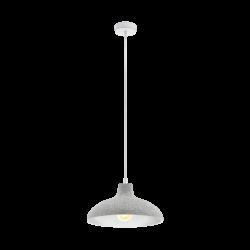 Κρεμαστό φωτιστικό vintage μονόφωτο Ø35.5cm, μέταλλο σε χρώμα γκρι-λευκό EGLO BARROWBY 49486