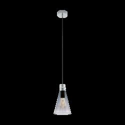 Κρεμαστό φωτιστικό vintage μονόφωτο, μέταλλο & μαύρο διάφανο γυαλί EGLO FRAMPTON1 49154