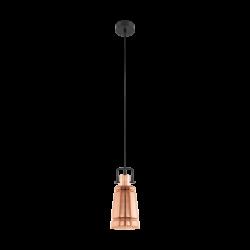 Κρεμαστό φωτιστικό vintage μονόφωτο, μέταλλο σε χρώμα μαύρο και χάλκινο EGLO FRAMPTON 49153