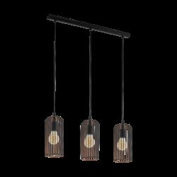 Κρεμαστό φωτιστικό vintage τρίφωτο σε σειρά, μέταλλο μαύρο & χάλκινο EGLO ROCCAMENA 49645