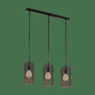 Κρεμαστό φωτιστικό vintage τρίφωτο, μέταλλο μαύρο & χάλκινο EGLO ROCCAMENA 49645