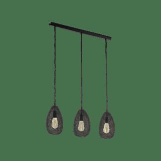 Κρεμαστό φωτιστικό vintage τρίφωτο σε σειρά, μέταλλο μαύρο EGLO CLEVEDON 49142