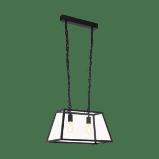 Κρεμαστό industrial φωτιστικό δίφωτο L57cm, μέταλλο μαύρο & διάφανο γυαλί EGLO AMESBURY 1 49883
