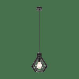 Κρεμαστό industrial φωτιστικό μονόφωτο Ø28cm, μέταλλο & ξύλο μαύρο EGLO IPSWICH 49159
