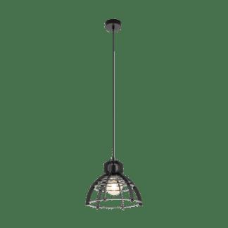 Κρεμαστό industrial φωτιστικό μονόφωτο Ø32cm, μέταλλο & ξύλο μαύρο EGLO IPSWICH 49158