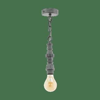 Κρεμαστό industrial φωτιστικό μονόφωτο, μέταλλο ασημί αντικέ EGLO CHEPSTOW 49707
