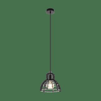 Κρεμαστό industrial φωτιστικό μονόφωτο, μέταλλο & ξύλο μαύρο EGLO IPSWICH 49157