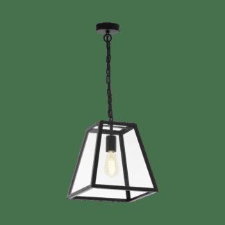 Κρεμαστό industrial φωτιστικό μονόφωτο L30cm, μέταλλο μαύρο & διάφανο γυαλί EGLO AMESBURY 1 49882