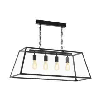 Κρεμαστό industrial φωτιστικό τετράφωτο L94,5cm, μέταλλο μαύρο & διάφανο γυαλί EGLO AMESBURY 1 49886