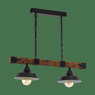 Κρεμαστό vintage φωτιστικό δίφωτο, σκούρο ξύλο & μαύρο μέταλλο EGLO OLDBURY 49684