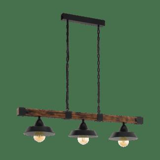 Κρεμαστό vintage φωτιστικό τρίφωτο, σκούρο ξύλο & μαύρο μέταλλο EGLO OLDBURY 49685