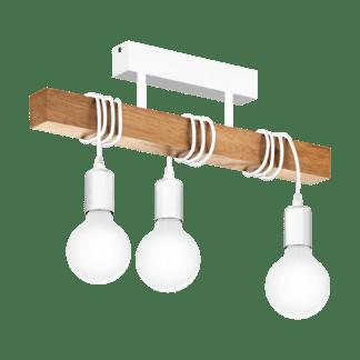 Κρεμαστό vintage φωτιστικό τρίφωτο, χρώμα φυσικού ξύλου & λευκό EGLO TOWNSHEND 33166