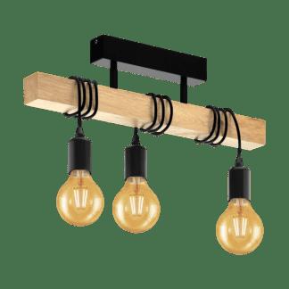 Κρεμαστό vintage φωτιστικό τρίφωτο L55cm χρώμα φυσικού ξύλου & μαύρο EGLO TOWNSHEND 32915