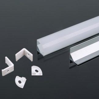 Προφίλ αλουμινίου για ταινίες LED γωνιακό 2000 x 15.8 x 15.8mm VTAC 3353