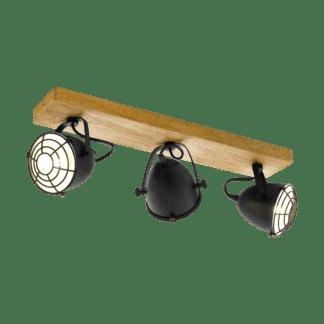 Σποτ τρίφωτο με χρώμα φυσικού ξύλου και μαύρο EGLO GATEBECK 49078