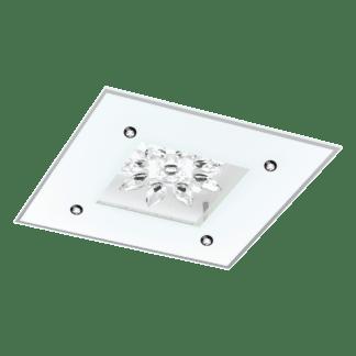 Φωτιστικό Οροφής Led 18W 37cm Λευκό Χρώμα Με Γυαλί & Κρύσταλλο Benalua1 96536