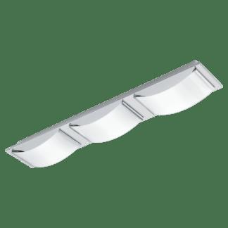 Φωτιστικό τοίχου-οροφής LED 3x5.4W 63cm από ανοξείδωτο χρωμιομένο ατσάλι & λευκό γυαλί WASAO 94467