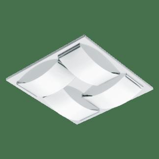Φωτιστικό τοίχου-οροφής LED 4x5.4W τετράγωνο 32cm από ανοξείδωτο χρωμιομένο ατσάλι & λευκό γυαλί WASAO 94468
