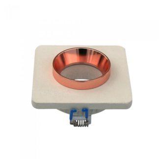 Χωνευτό φωτιστικό Spot GU10 γύψινο τετράγωνο με υπόλευκο & ροζ χαλκός σώμα VTAC 3121