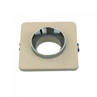 Χωνευτό φωτιστικό Spot GU10 γύψινο τετράγωνο με υπόλευκο & χρώμιο σώμα VTAC 3122