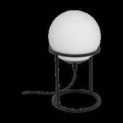 Επιτραπέζιο φωτιστικό E14 1Χ28W, ύψος 28cm, βάση μαύρο μέταλλο & σφαιρικό οπάλ γυαλί CASTELLATO 97331