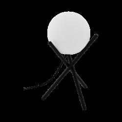 Επιτραπέζιο φωτιστικό E14 1Χ28W, ύψος 33cm, βάση μαύρο μέταλλο & σφαιρικό οπάλ γυαλί CASTELLATO 97333