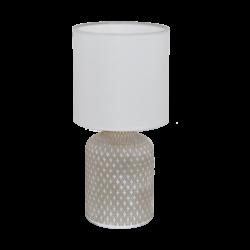 Επιτραπέζιο φωτιστικό E14 1Χ40W, κεραμικό γκρι με λευκό υφασμάτινο καπέλο BELLARIVA 97774