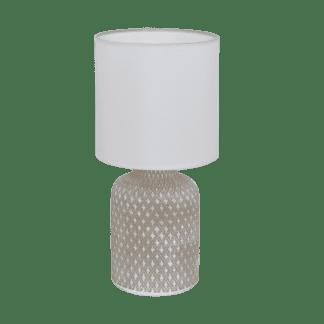 Επιτραπέζιο φωτιστικό E14 1Χ40W, κεραμικό γκρι & με λευκό υφασμάτινο καπέλο BELLARIVA 97774